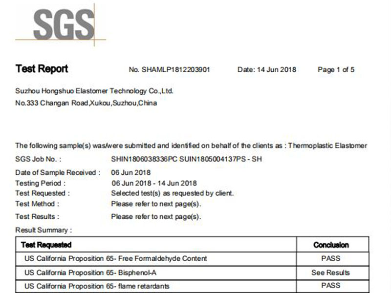 TPEs from Suzhou Hongshuo meet requirements of Prop 65