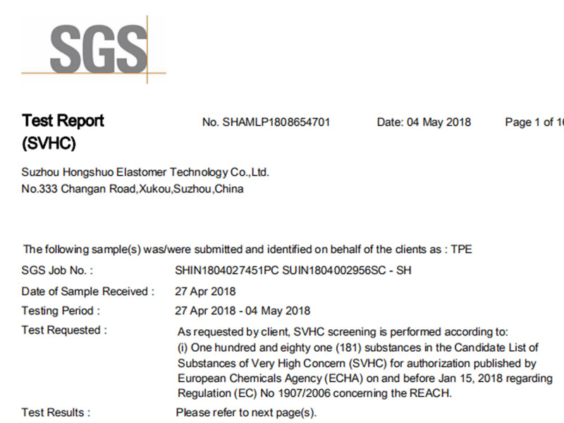 Suzhou Honghsuo TPEs comply with REACH